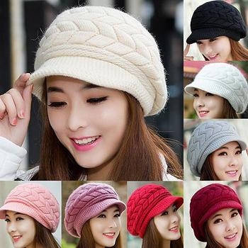 Women's Winter Solid Color Warm Knitted Baggy Beret Beanie Hat Slouch Ski Cap image