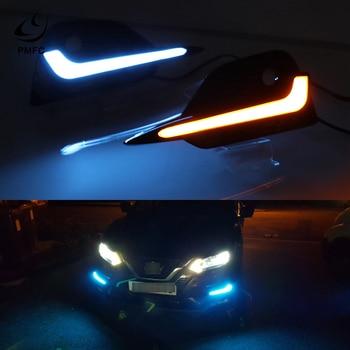 PMFC 2PCS LED Dynamic Turn Signal Light Daytime Running Light For Nissan Qashqai 2019 2020 Car DRL 12V LED Fog Lamp Yellow