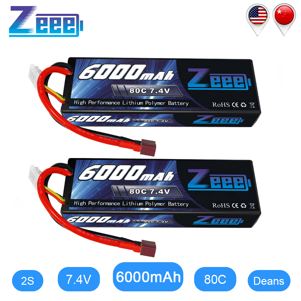 2units Zeee RC <font><b>LiPo</b></font> Battery <font><b>6000mAh</b></font> <font><b>2S</b></font> 80C <font><b>LiPo</b></font> 7.4V with Deans T Plug for RC Car Vehicle Truck Tank Losi Traxxas Slash Truggy image