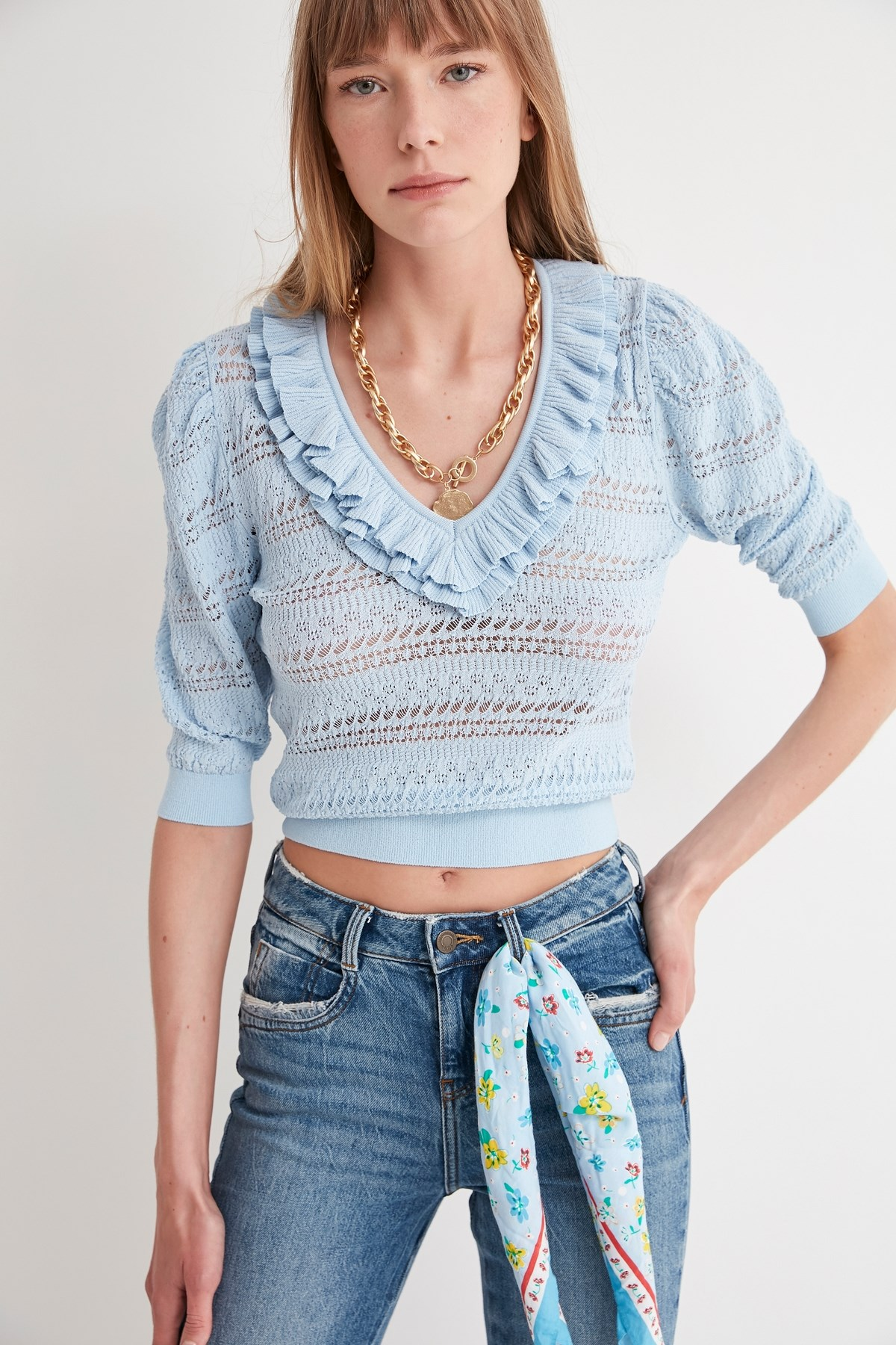 Frilly Knitwear Sweater