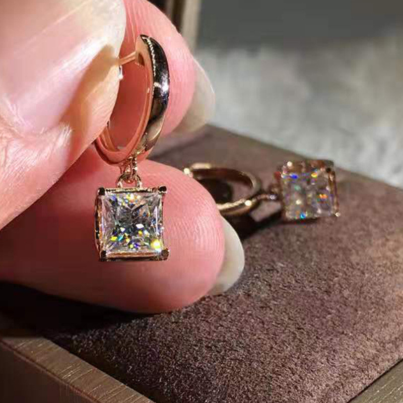 LETAPI Luxury Female White Round Drop Earrings Fashion Silver Color Wedding Jewelry Crystal Zircon Earrings For Women