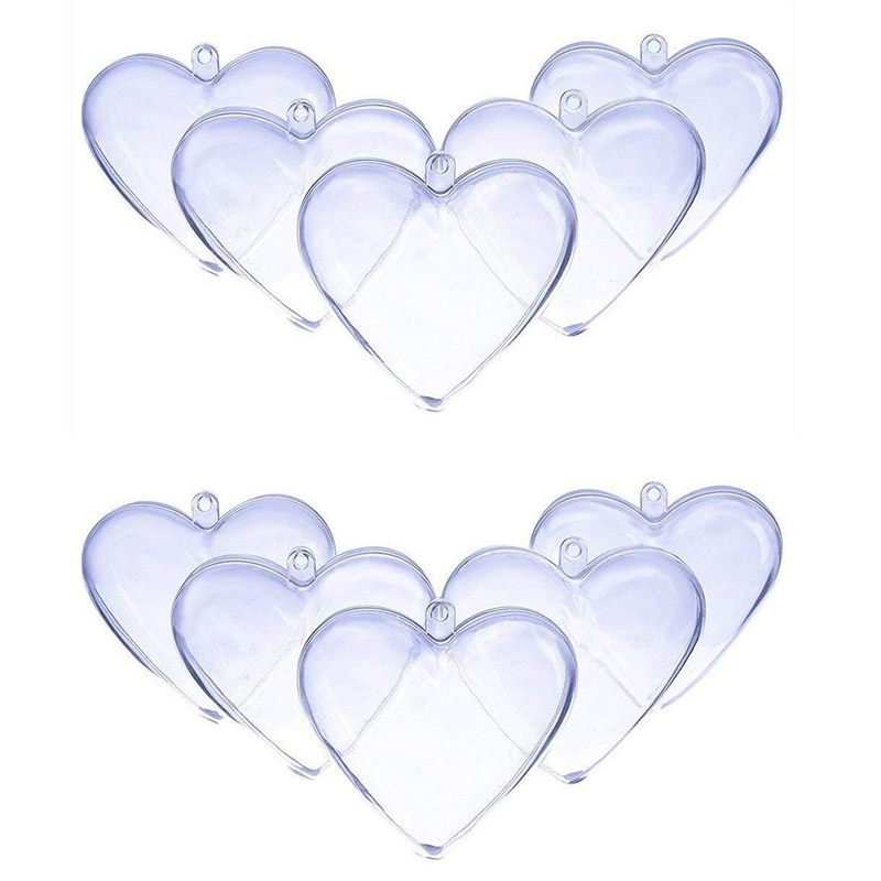10pcs Christmas Tress Transparent Open Plastic Clear Acrylic Heart-shaped Fillable Ball Ornament Gift Present Box Decoration