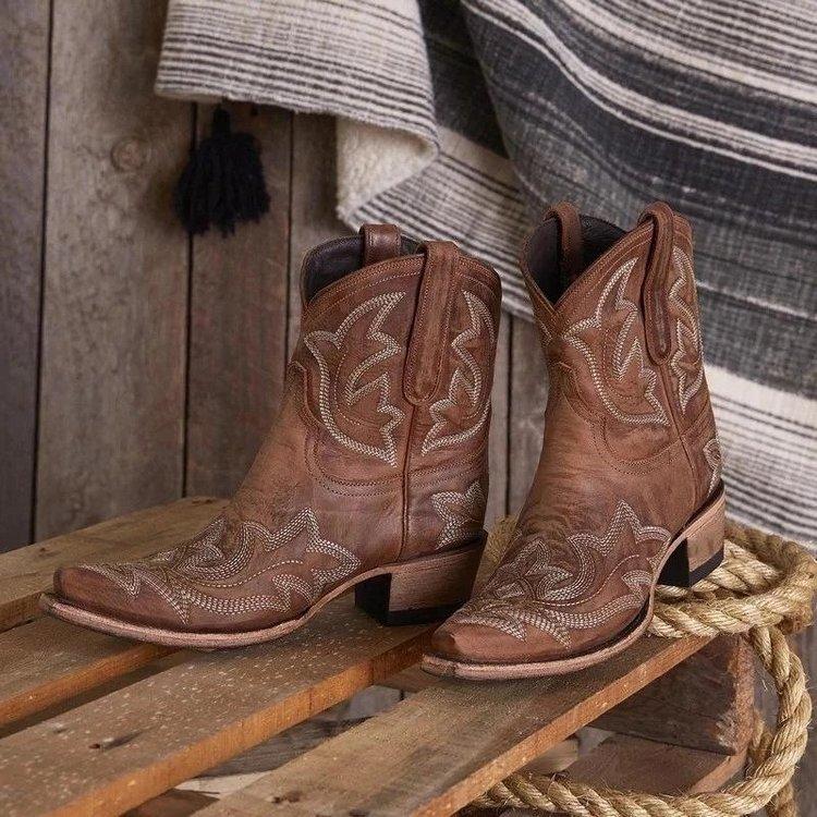 Ricamo Botas Mujer Faux Cowboy di Cuoio Della Caviglia Stivali Per Le Donne Cuneo Stivali Tacco Alto Serpente Occidentale di Stampa Stivali Da Cowgirl 2020