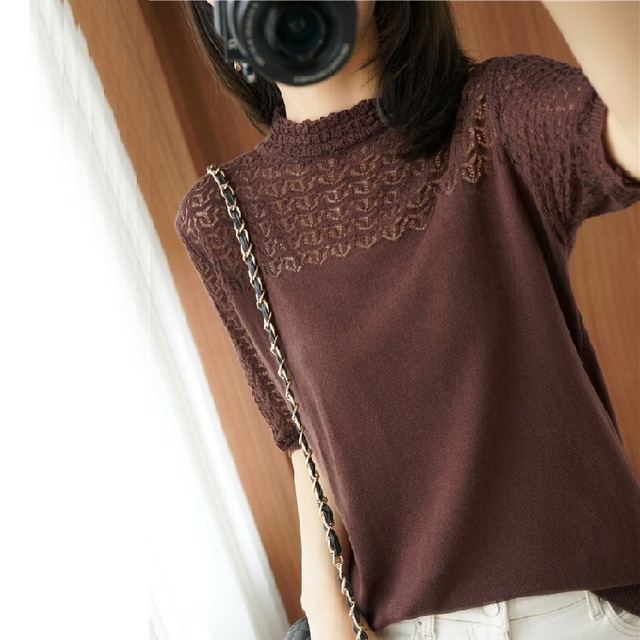 Summer Women knitted Short sleeve 2021 Thin Sweater Female Hollow out Lace Turtleneck Pullover Ladies knit Cotton Purple Jumpers 2