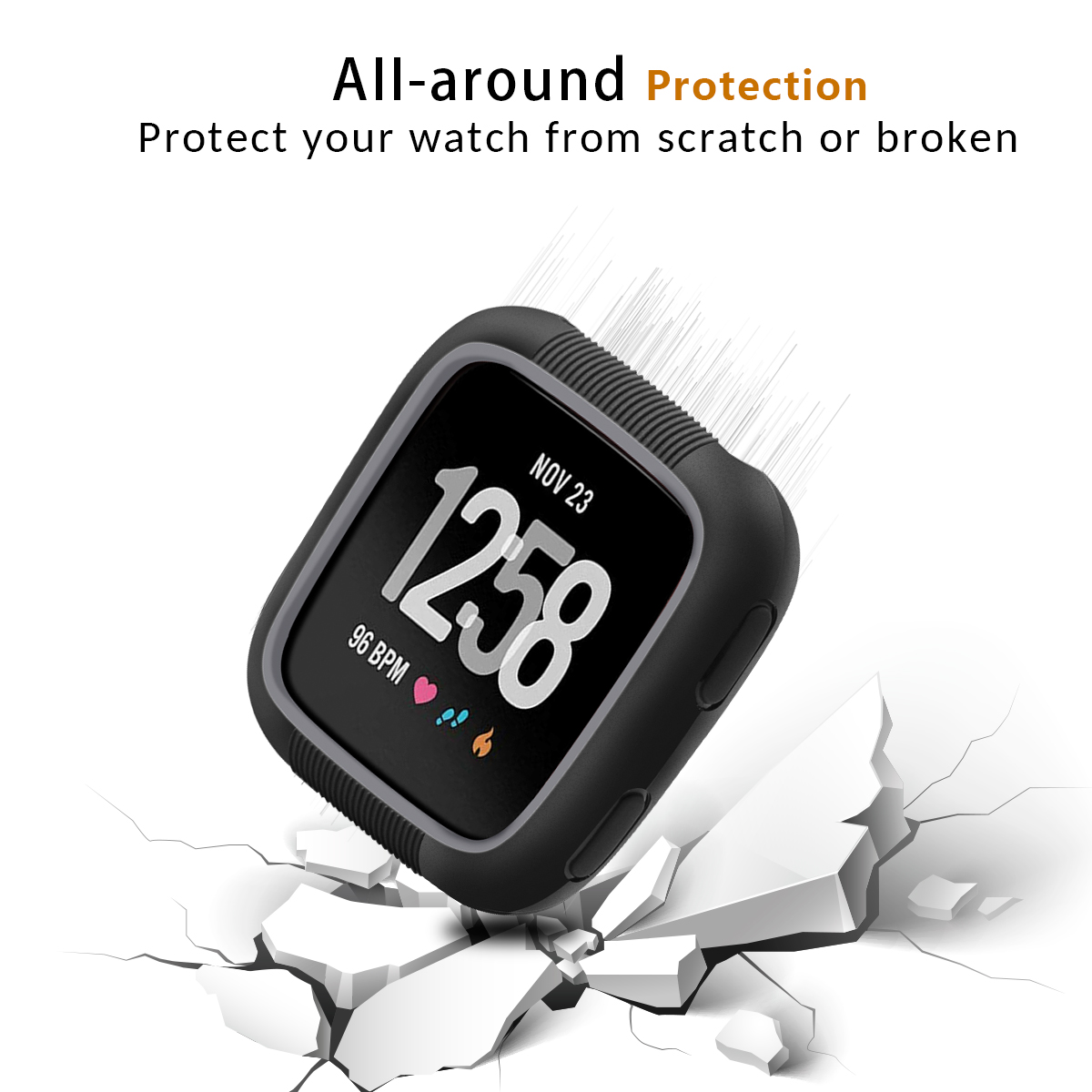 Image 5 - Anti fall TPU Silicone Watch Screen Protective Frame Case For Fitbit Versa Shookproof Watch Face Bumper Protector Cover Shell-in Smart Accessories from Consumer Electronics