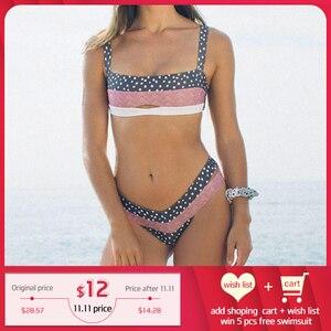Image 1 - Miyouj Bikinis con Push Up para mujer, traje de baño Floral, bañador de lunares, conjunto de Bikini de Bandeau para playa 2019