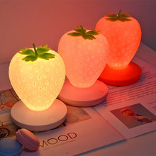 Touch Dimmable Silicone Table Lamp Strawberry Night Light for Baby Children Kids Gift Bedside Bedroom Living Room Decoration