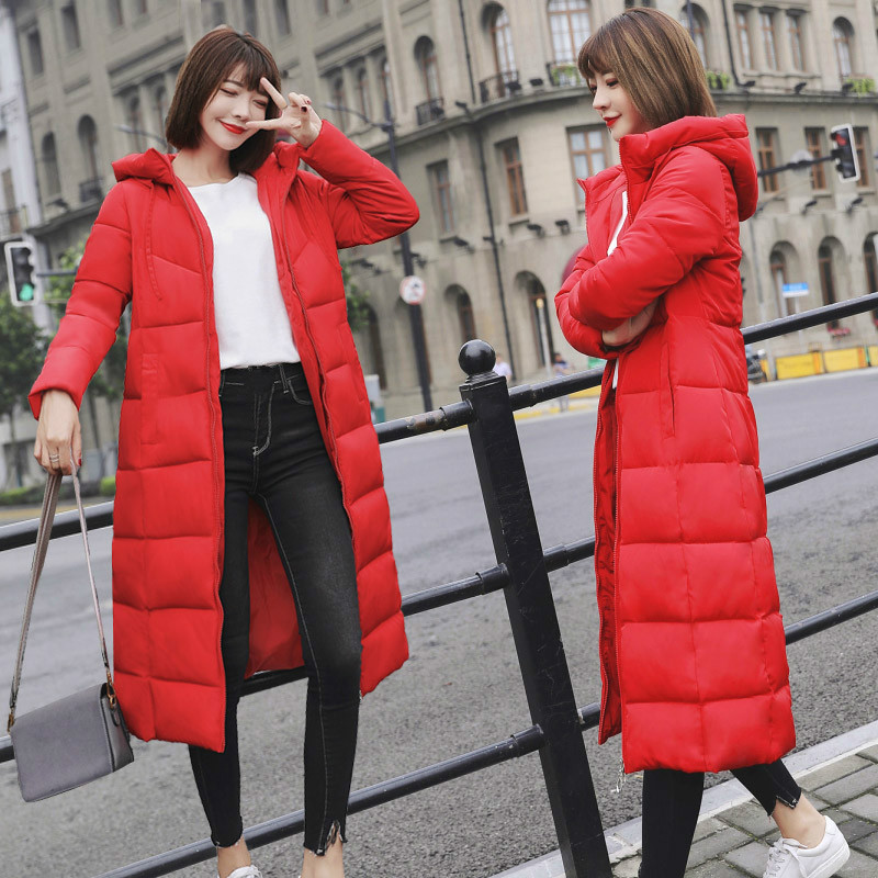 2018 autumn winter Women Fashion cotton Down jacket hoodie long warm Jackets Female winter coat clothes