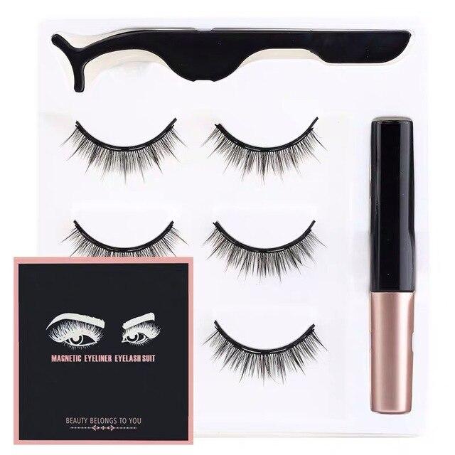 magnetic eyeliner and eyelashes maquiagem Liquid Eyeliner maquillaje False Eyelashes & Tweezer Set magnetic eyelash extension 1