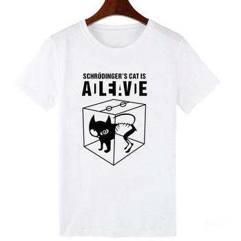LUCKYROLL Fashion Cool Schrödinger's Cat is ADLEIAVDE Print Female T-shirt White T shirts Women Summer Casual Harajuku T-Shirt