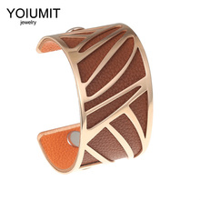 Cremo Hollow Wide Bracelet Rose Gold Cuff Bangles For Women Bijoux Yoiumit Stainless Steel Jewelry Reversible Leather Pulseira