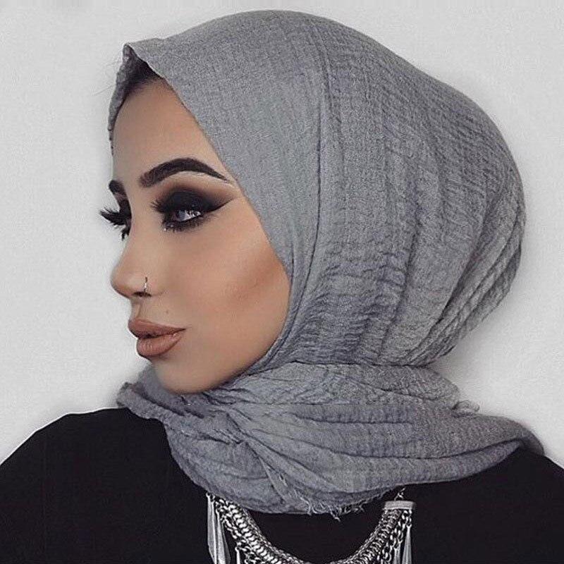 Women Muslim Crinkle Hijab Scarf Soft Cotton Headscarf Islamic Hijab Solid Color Shawls Wraps Dustproof Protection Scarf