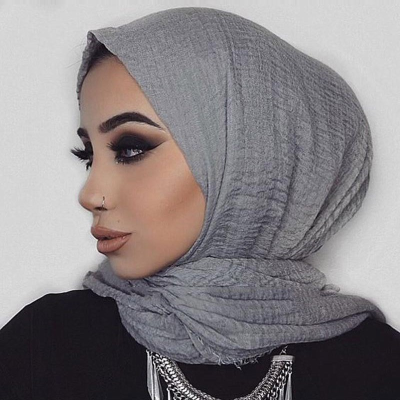 Women Muslim Crinkle Hijab Scarf Soft Cotton Headscarf Islamic Hijab Solid Color Shawls Wraps