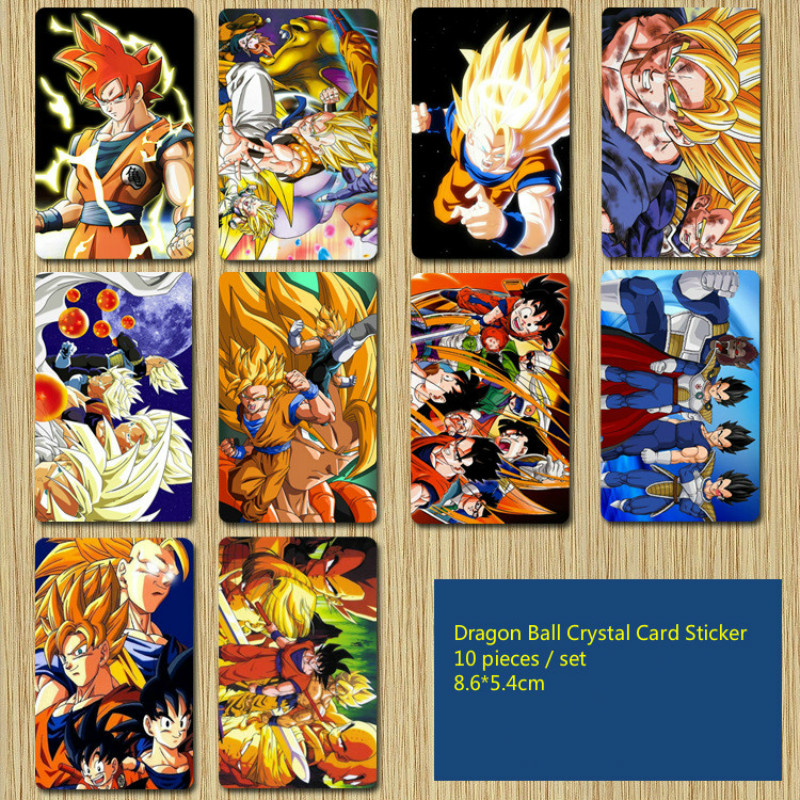 10pieces Super Crystal Sticker  Action Toy Figures Commemorative Edition Game Collection Anime Cards