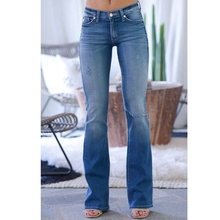 Fashion Denim Flare Pants Women Retro Ripped Jeans Wide Leg Trousers ladies Casual Bell-Bottoms Flare Pant Female push up jeans