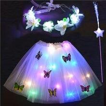 Meninas crianças led borboleta tutu saia aniversário festa de casamento páscoa ramadan vestir em camadas tule luz coroa de flores 2-8 ano