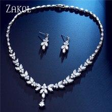ZAKOL Zircons Brand Fashion White AAA+ CZ Zirconia Leaf Earrings Necklace Set for Women Bridal Weddings Jewelry Set FSSP3181