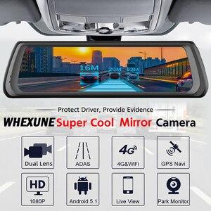 Image 2 - WHEXUNE 4G Видеорегистраторы для автомобилей с сенсорным экраном на Android ADAS Даш Cam Автомобильная камера заднего вида зеркало 10 дюймов тире Камера Двойной объектив GPS навигации рекордер Wifi