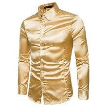 Shirt Stage-Performance Long-Sleeve Silk Night-Singer Slim Men's Large-Size Costumes