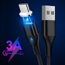 3A Magnetic USB Cable for Huawei Samsung Type C Charging USB C Magnet Cable Micro USB Mobile Phone Cord Type-C Wire for Xiaomi