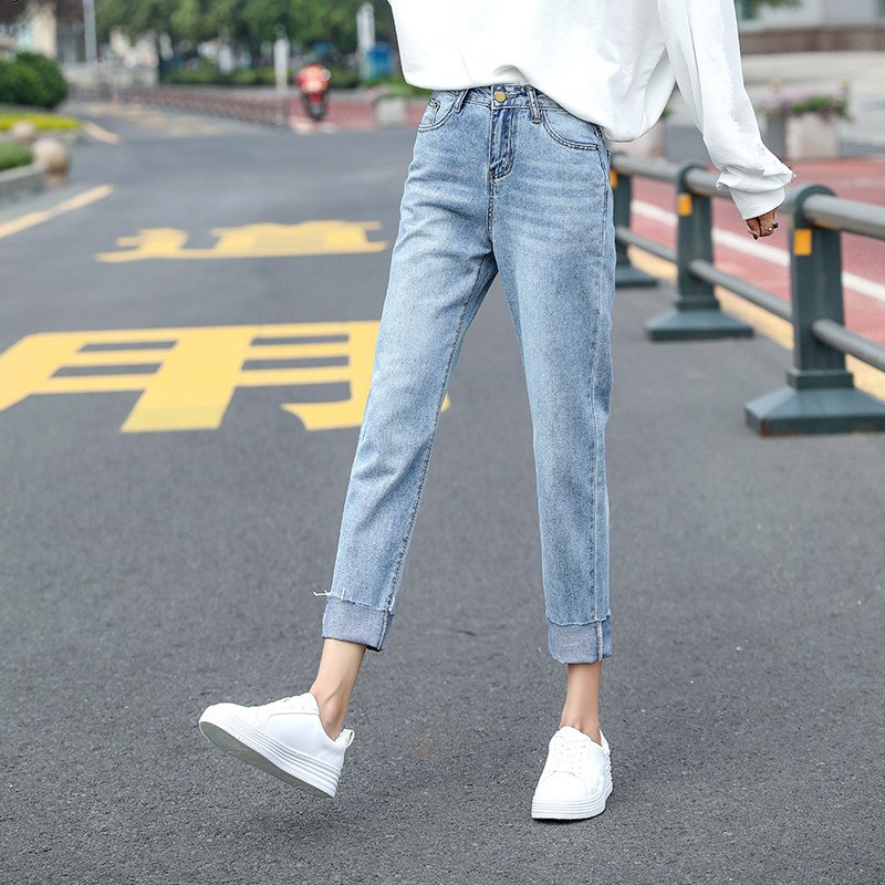 Nice Tide Women High Waist Straight Jeans Vintage Zipper Pockets Solid Denim Pants Female Casual Loose Trousers