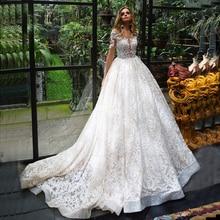 2020 נסיכת אפליקציות תחרה חתונה שמלות ארוך שרוול Vestido דה Novia Renda לראות דרך שמלות כלה