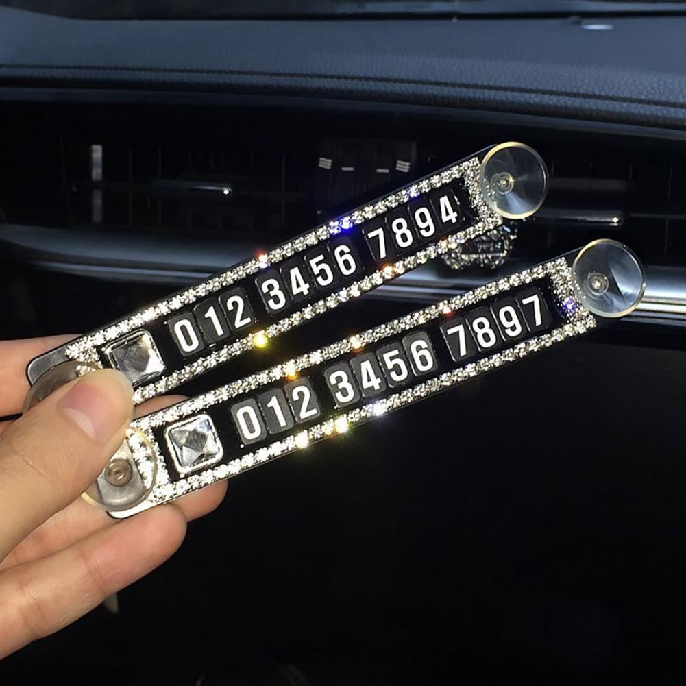 Car Ornaments Rhinestone Sucker Car Temporary Stop Magnetic Phone Number Parking Card Plate Interior Accessories