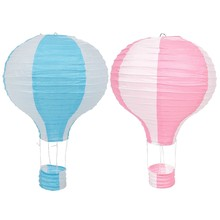 2x 12Inch Hot Air Balloon Paper Lantern Lampshade Ceiling Light Wedding Party Decor, Blue Stripes & Pink Stripes(China)