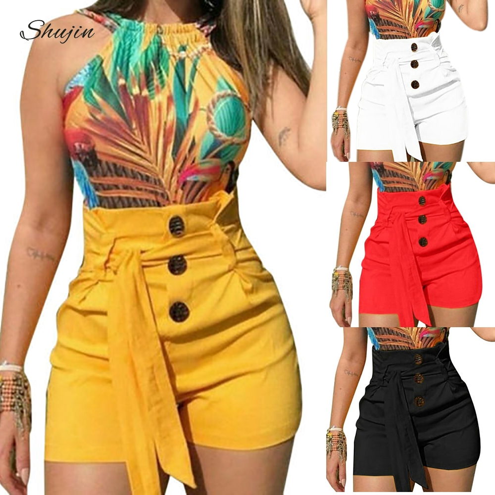JODIMITTY 2020Summer Women's Solid Shorts Sexy Ladies High Waist Casual Buttom Bandage Beach Hot Shorts Womens Plus Size S-5XL