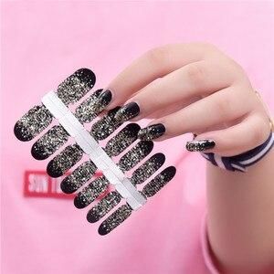 Image 2 - Poudre à paillettes, autocollant, couleur dégradée, enveloppe pour vernis à ongles, couverture complète, 29 couleurs, décoration, Nail Art, bricolage