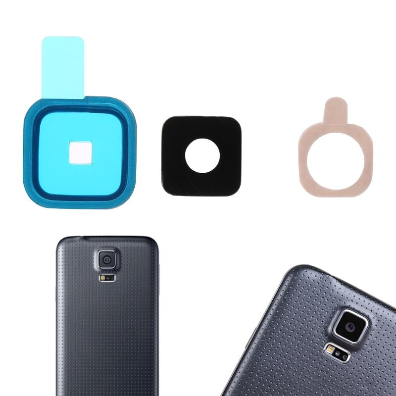 1 Set Rear Camera Lens Glass Cover + Metal Frame + Sticker For Samsung Galaxy S5