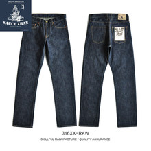 Saucezhan 316XX-RAW Mannen Jeans Straight Raw Denim Jeans Zelfkant Jeans Unsanforized Denim Jeans Heren Jeans Merk(China)