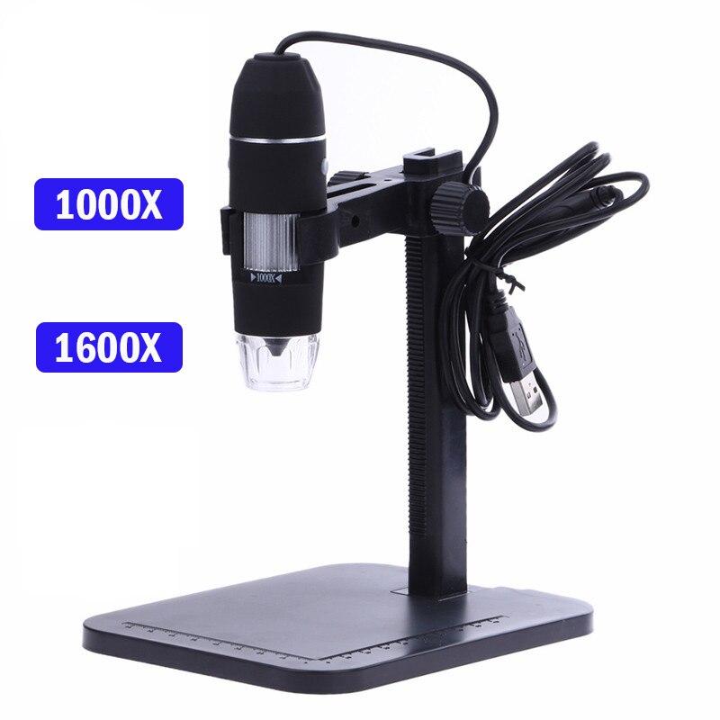 Microscope numérique USB professionnel 8 LED 2MP 1000X Microscope électronique Endoscope Zoom caméra loupe + support de levage outils