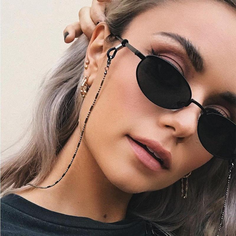 Minimalist Style Balck Bead Chain Eyeglass Chain Lanyard Reading Glasses Chains Women Accessories Sunglasses Hold Straps Cords