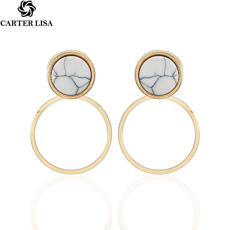 CARTER LISA 2019 Hot Women Fashion Metal Drop Earrings Large Square Geometric Pendant Earrings Silver/Gold Dangle Earringsover