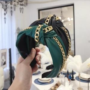 New Fashion High Quality PU Leather Hairband Wide Side Headband Women Shining Gold Chain Headwear Casual Hair Accessories(China)