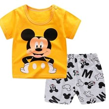 Summer T-Shirt Clothing-Sets Shorts Mickey Mouse Baby-Girl Designer Casual Cartoon Brand