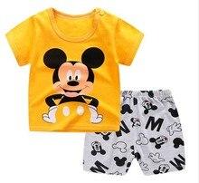 Брендовая Дизайнерская одежда с героями мультфильмов, летняя одежда для маленьких мальчиков с Микки Маусом, футболка + шорты, повседневные ...