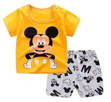Marca designer de roupas dos desenhos animados mickey mouse bebê menino roupas de verão camiseta + shorts bebê menina casual conjuntos