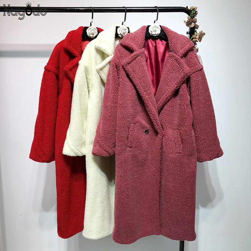 Nagodo White Teddy Coat Winter Coat Long Sleeve Turn-down Collar Women's Faux Fur Coat  Causal Wide-waisted Oversized Plus Size