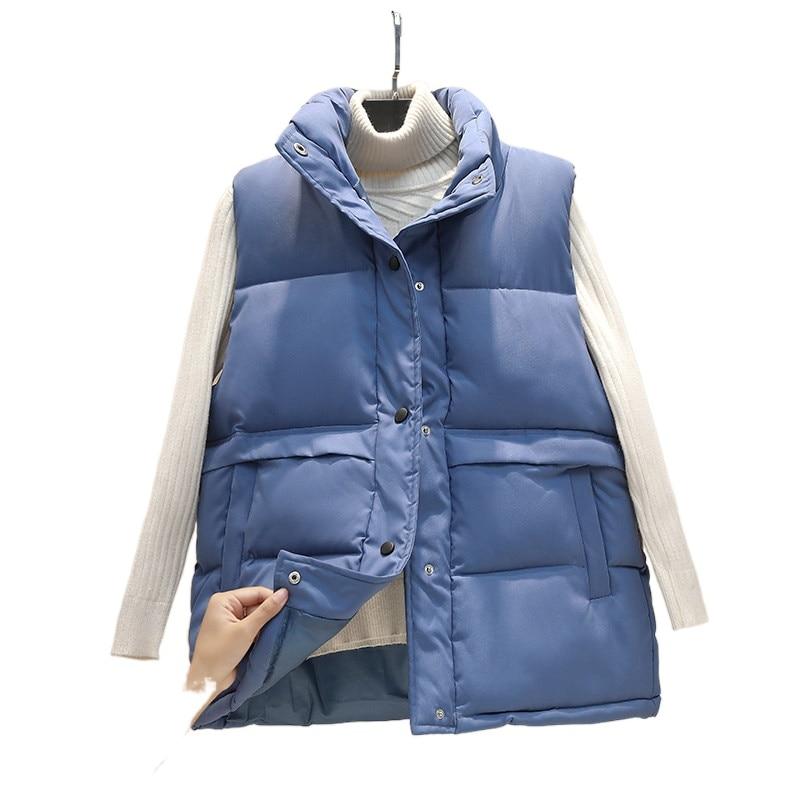 Autumn Winter Women's Solid Loose Vest Drawstring Stand Collar Long Vest Jacket Cotton Padded Women's Windproof Warm Waistcoat