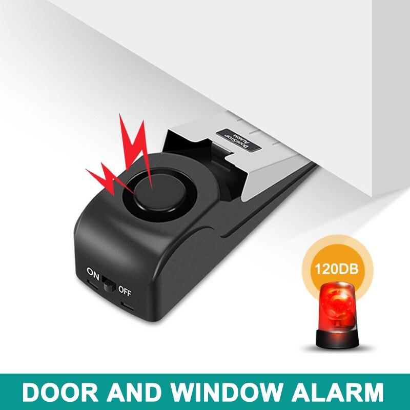 Wedge Door Stop Alarm With 120 DB Traveling DIY Home Apartment Security Door Stopper   GV99