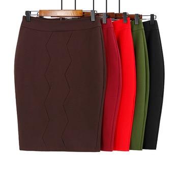 Fashion Skirt Skirt Bag Hip Skirt Knit Elastic Pencil Skirt Women OL Women's Large Size Office Lady Straight Solid Knee-length