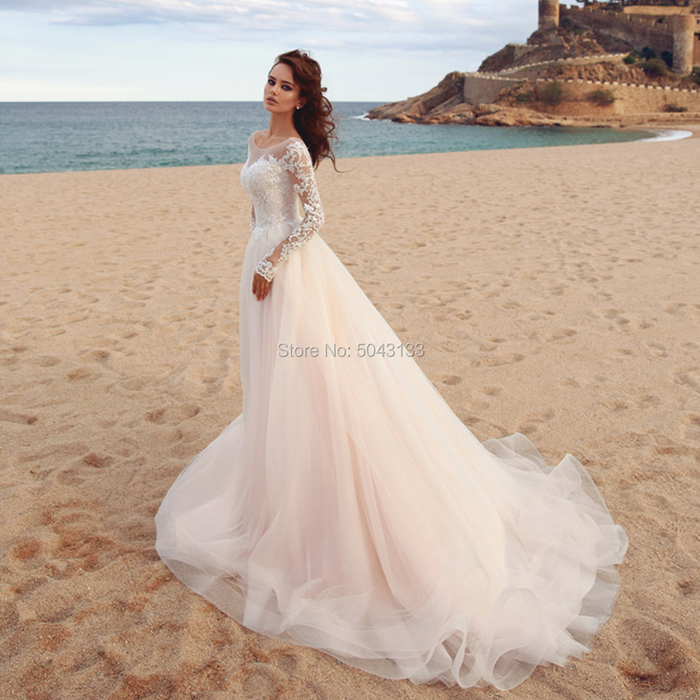 Lace Applique Long Sleeves Wedding Dresses 2019 Sexy Sheer Scoop Neckline Floor Length Soft Tulle Bridal Gown Formal Bride Dress