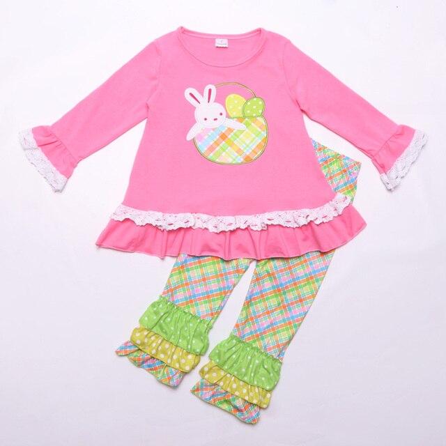 Пасхальный кролик детская одежда бутик хлопковая одежда Вышивка Одежда