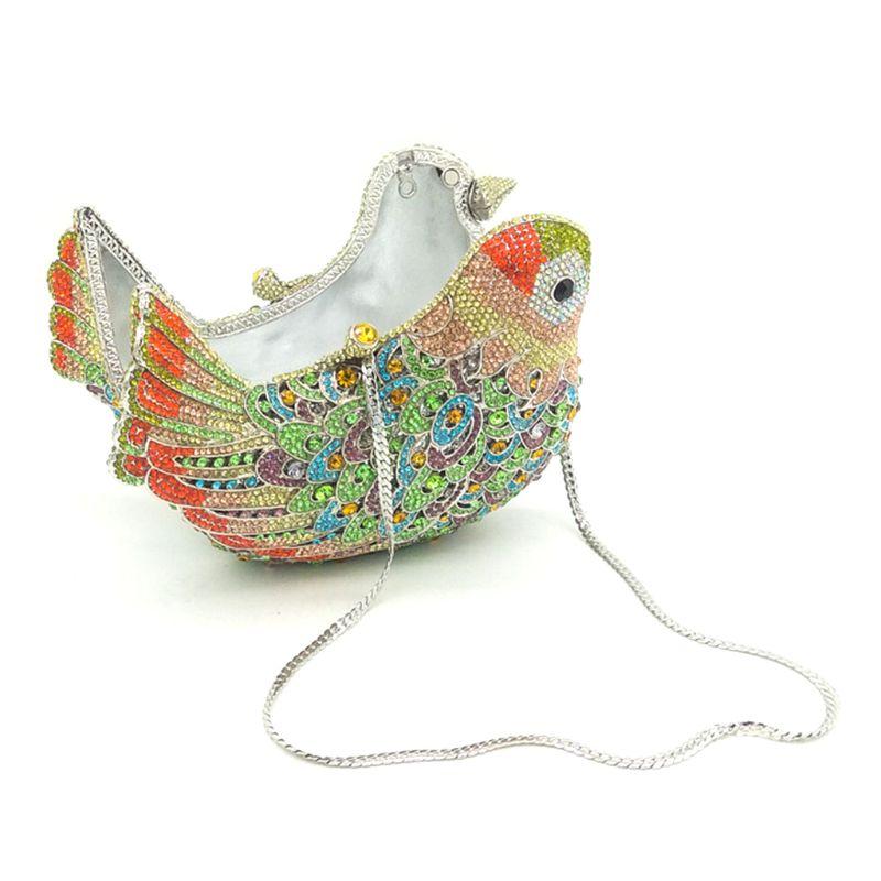 THINKTHENDO femmes paillettes oiseau soirée sacs de mariage bal de promo de mariée strass embrayage sac à main épaule chaîne sac - 2
