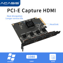 Acasis 4 Channel HDMI-compatible PCIE Video Capture Card 1080p 60fps OBS Wirecast Live Broadcast Streaming Adapter Quad Ports