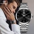 Reloj de pulsera mecánico automático de Marca China STARKING para hombre, reloj negro de acero completo para hombre, reloj masculino Simple y caliente AM0194