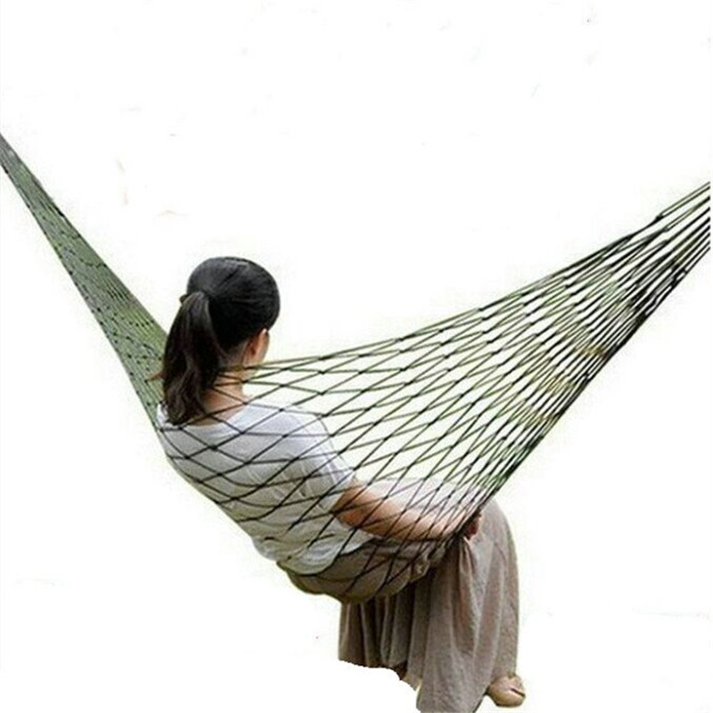 Hammocks Portable Camping Garden Outdoor Mesh Hammock Outdoor Sleeping Travel Camping Hamac Nylon Hang Swing Bed Hangmat