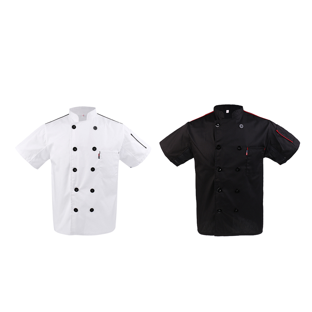 2x Chef Jacket Coat Kitchen Unisex Short Sleeve Cook Restaurant Chef Uniform